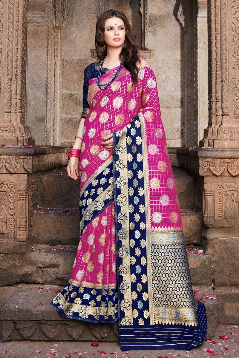 Art Silk Magenta Color Weaving Work Traditional Wear Saree
