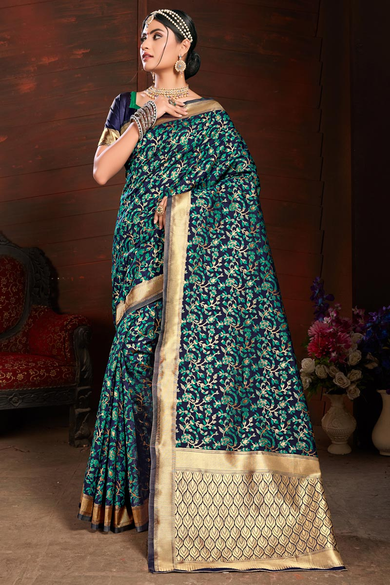 Party Style Art Silk Navy Blue Saree With Weaving Work