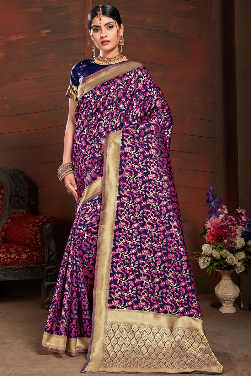 Art Silk Party Style Saree In Navy Blue With Weaving Work