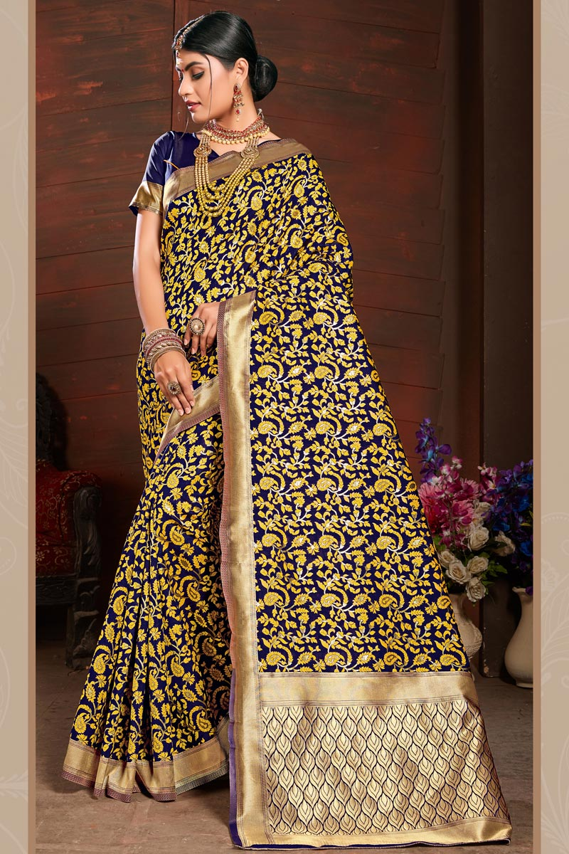 Navy Blue Party Style Art Silk Saree With Weaving Work