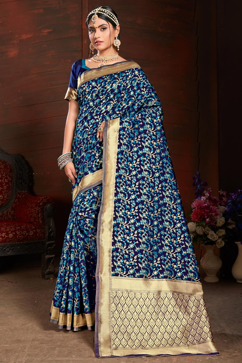 Art Silk Party Style Navy Blue Saree With Weaving Work