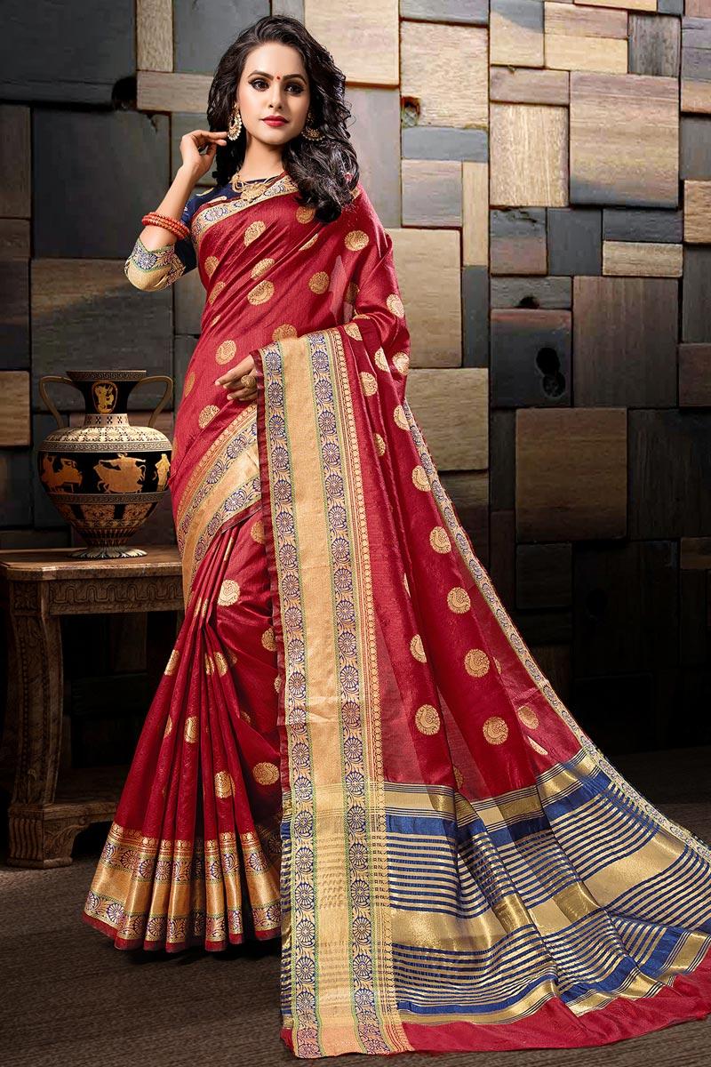 Sangeet Wear Cotton Silk Weaving Work Designer Maroon Saree