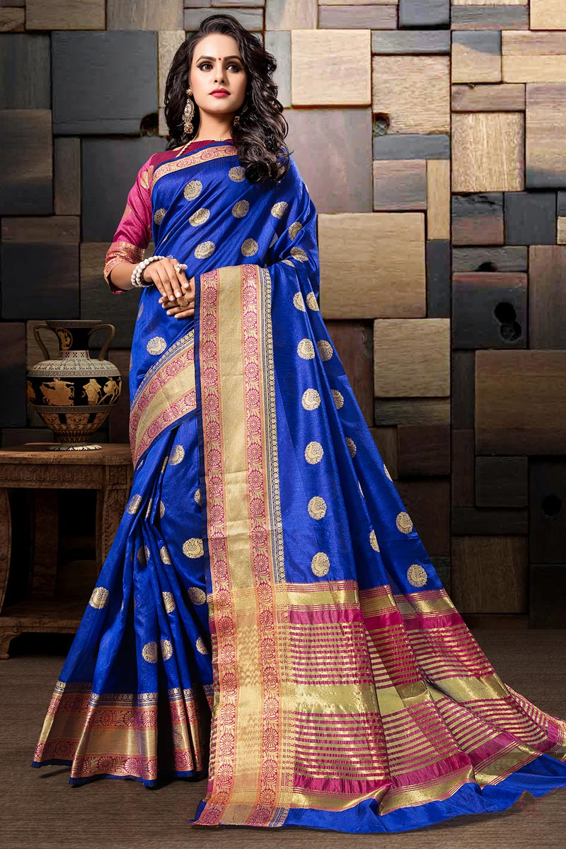 Blue Sangeet Wear Weaving Work Designer Saree In Cotton Silk