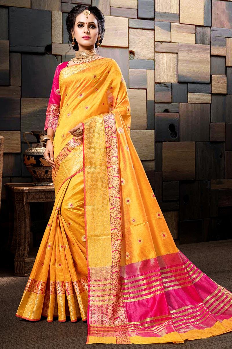 Sangeet Wear Cotton Silk Designer Weaving Work Mustard Saree