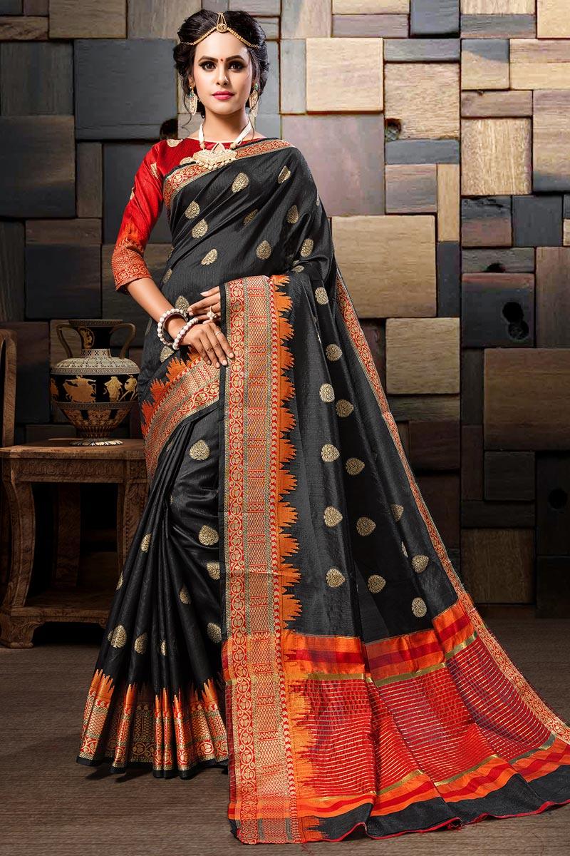 Cotton Silk Sangeet Wear Weaving Work Black Designer Saree