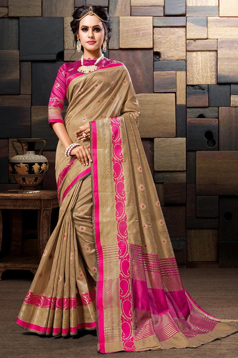 Sangeet Wear Dark Beige Weaving Work Designer Cotton Silk Saree