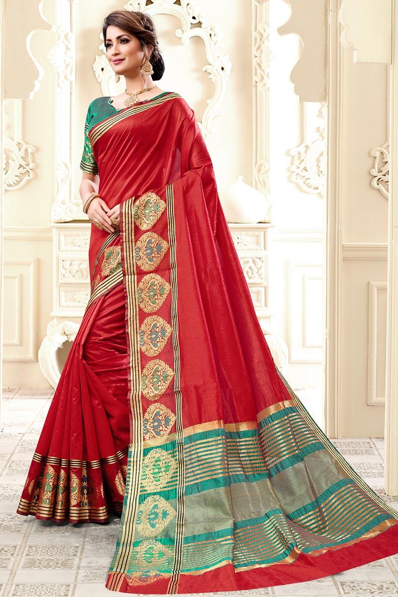 Cotton Silk Red Sangeet Wear Weaving Work Designer Saree