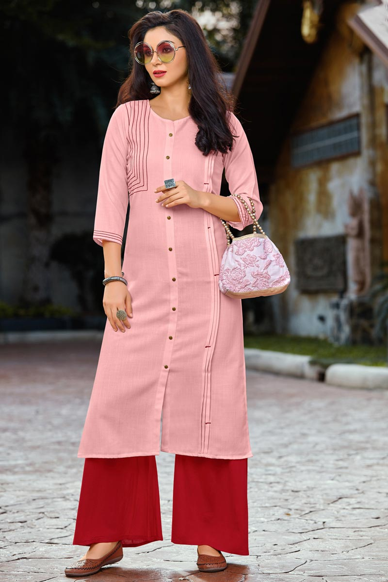 Festive Style Pink Thread Work Kurti With Palazzo In Cotton Fabric