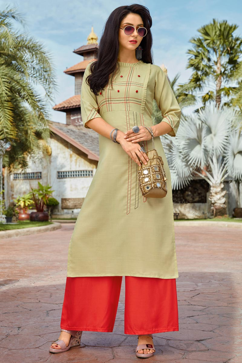 Festive Style Cotton Fabric Thread Work Kurti With Palazzo In Beige