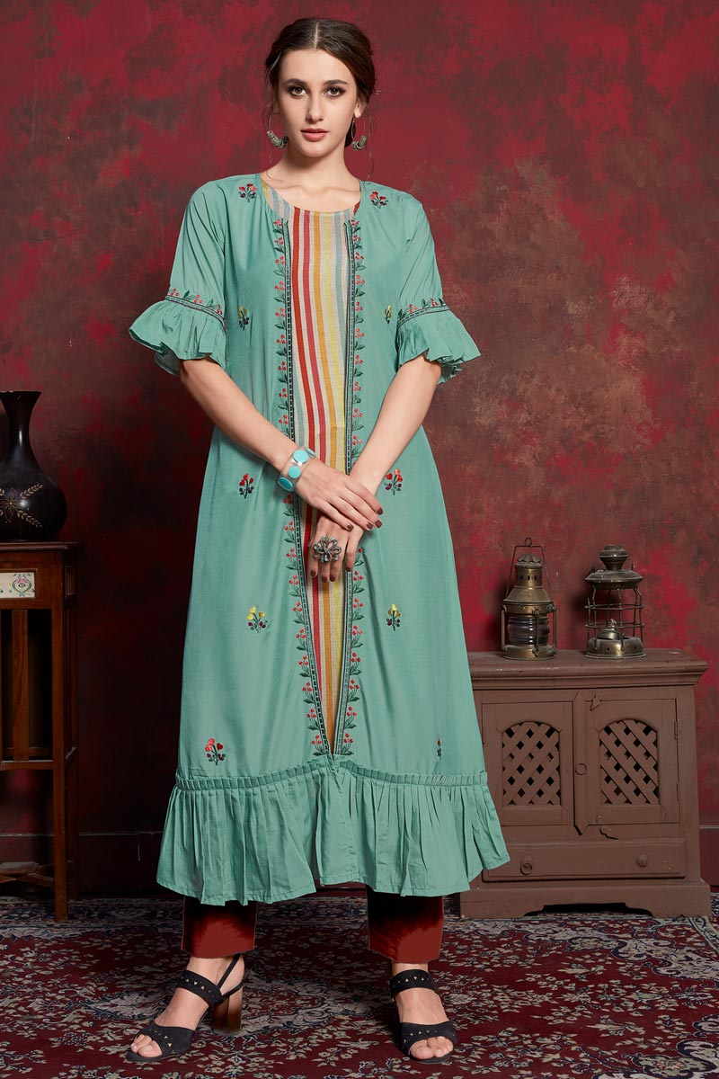 Party Wear Designer Cyan Kurti In Rayon Fabric With Long Jacket