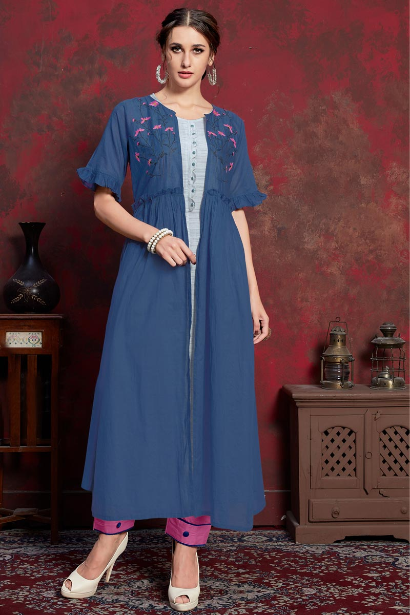 Party Wear Designer Blue Kurti In Rayon Fabric With Long Jacket