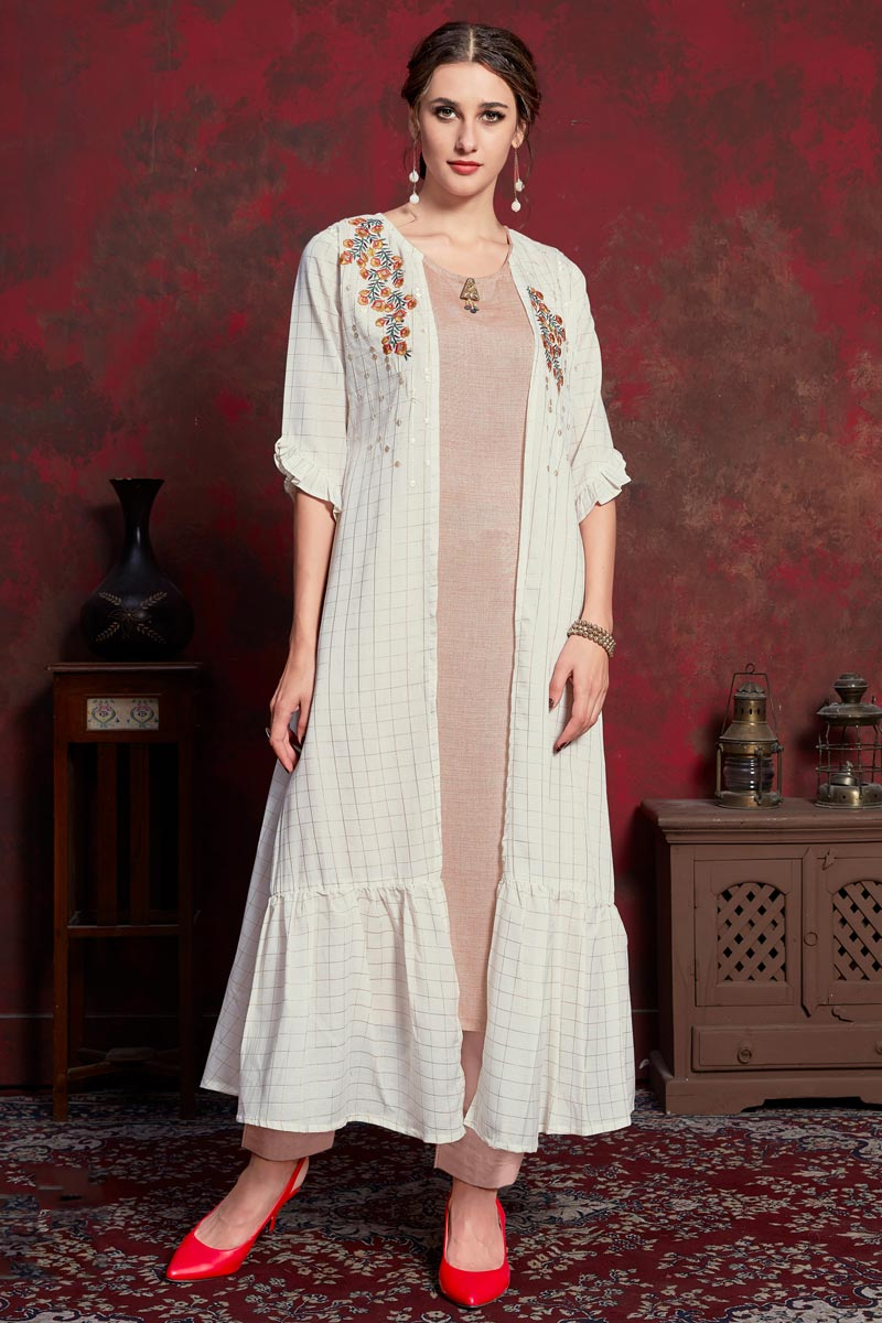 Rayon Fabric Designer Party Wear Kurti In Beige With Long Jacket