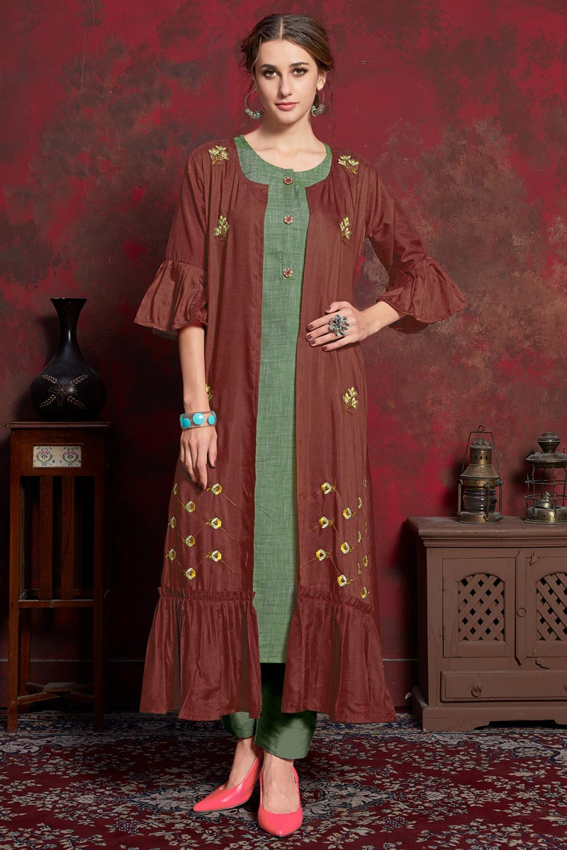 Designer Rayon Fabric Party Wear Maroon Kurti With Long Jacket