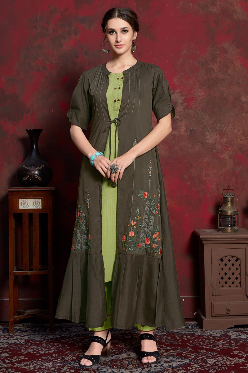 Brown Designer Rayon Fabric Party Wear Kurti With Long Jacket