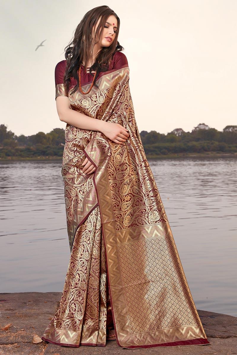 Art Silk Occasion Wear Weaving Work Designer Maroon Saree