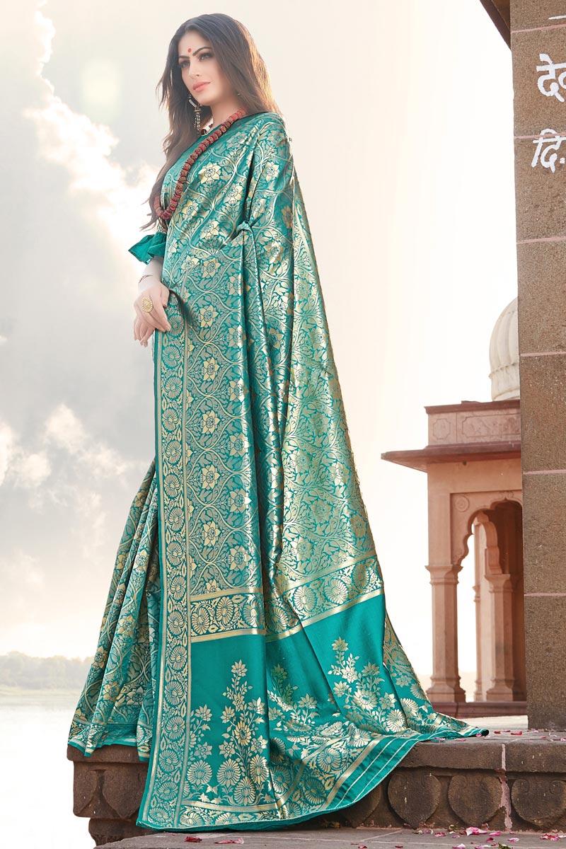 Occasion Wear Cyan Designer Weaving Work Saree In Art Silk