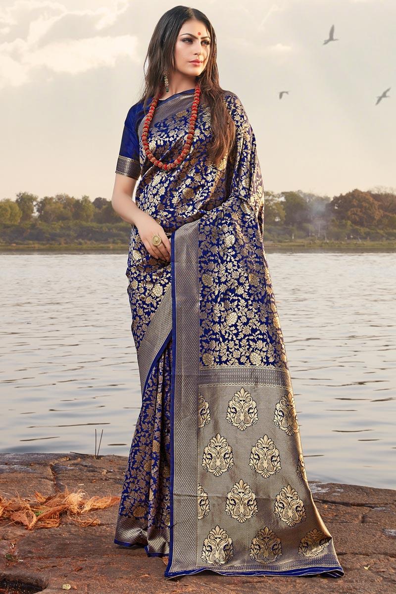 Art Silk Occasion Wear Navy Blue Weaving Work Designer Saree
