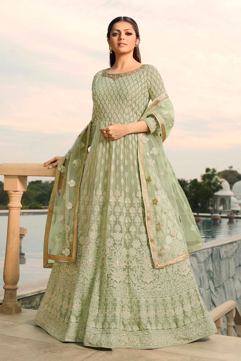 Drashti Dhami Green Party Wear Anarkali Salwar Suit In Georgette Fabric With Embroidery Work
