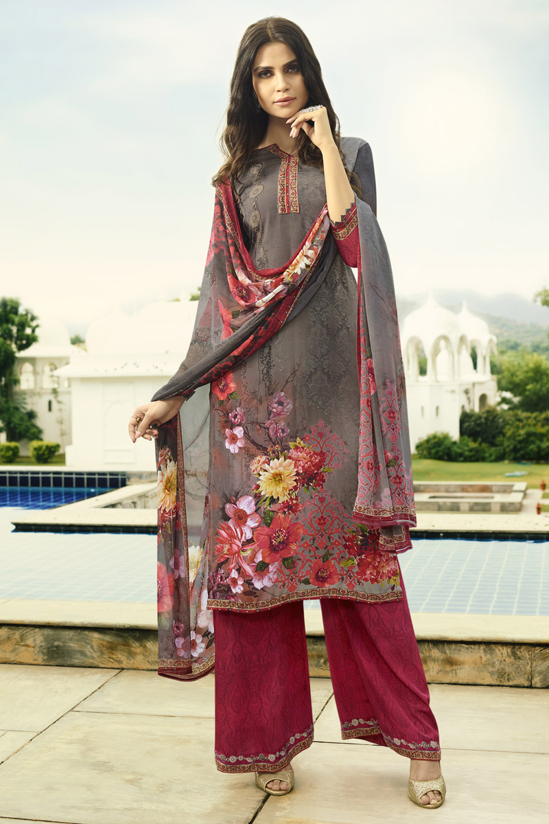Grey Festive Wear Fancy Printed Palazzo Suit In Crepe Fabric