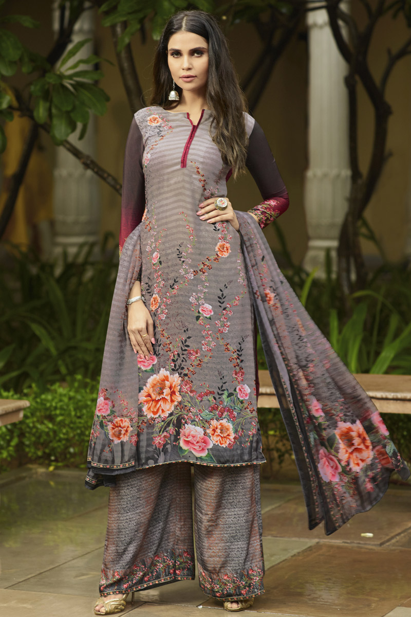 Crepe Fabric Festive Wear Fancy Printed Palazzo Suit In Grey