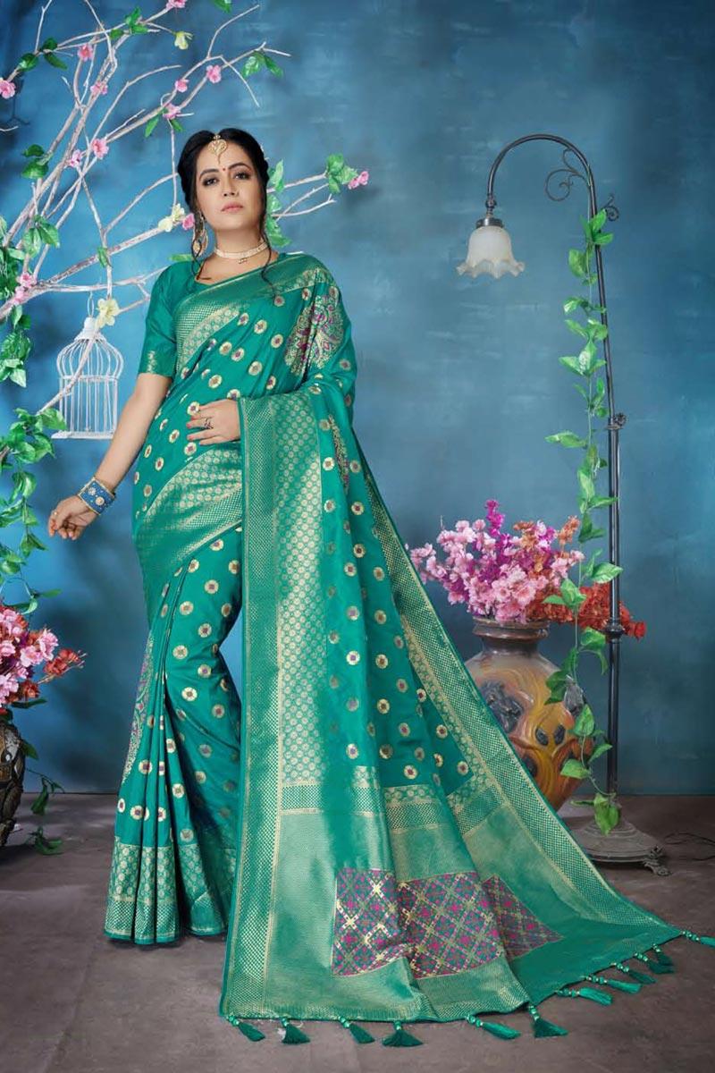 Traditional Wear Art Silk Designer Weaving Work Saree In Cyan