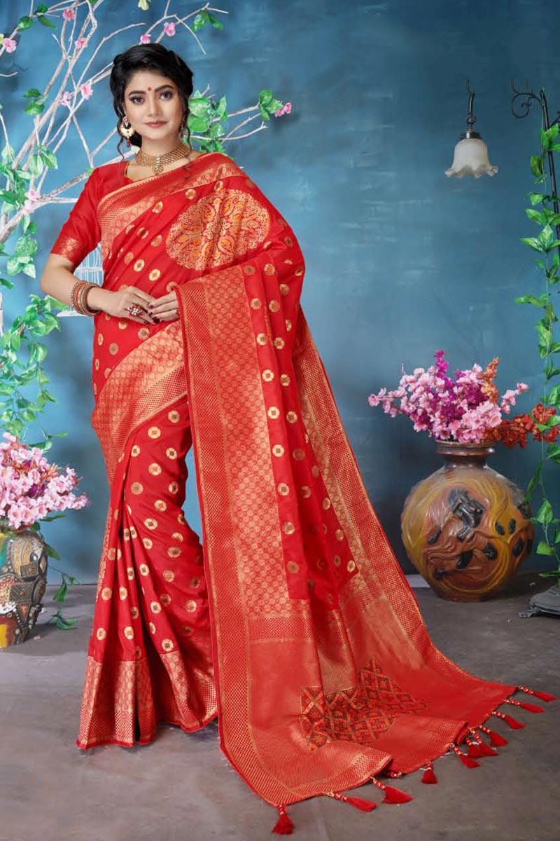 Art Silk Traditional Wear Designer Weaving Work Red Saree