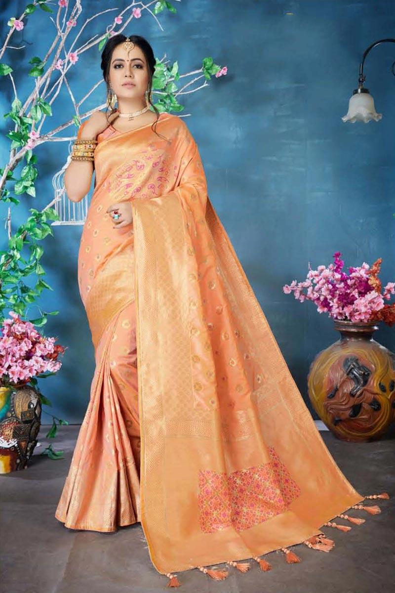 Traditional Wear Peach Art Silk Designer Weaving Work Saree