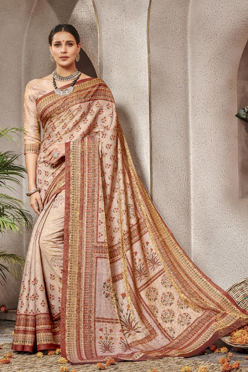 Traditional Wear Art Silk Designer Digital Printed Saree In Cream