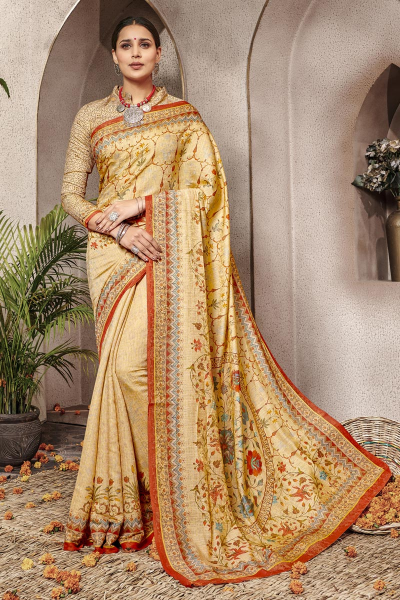 Art Silk Traditional Wear Designer Digital Printed Yellow Saree