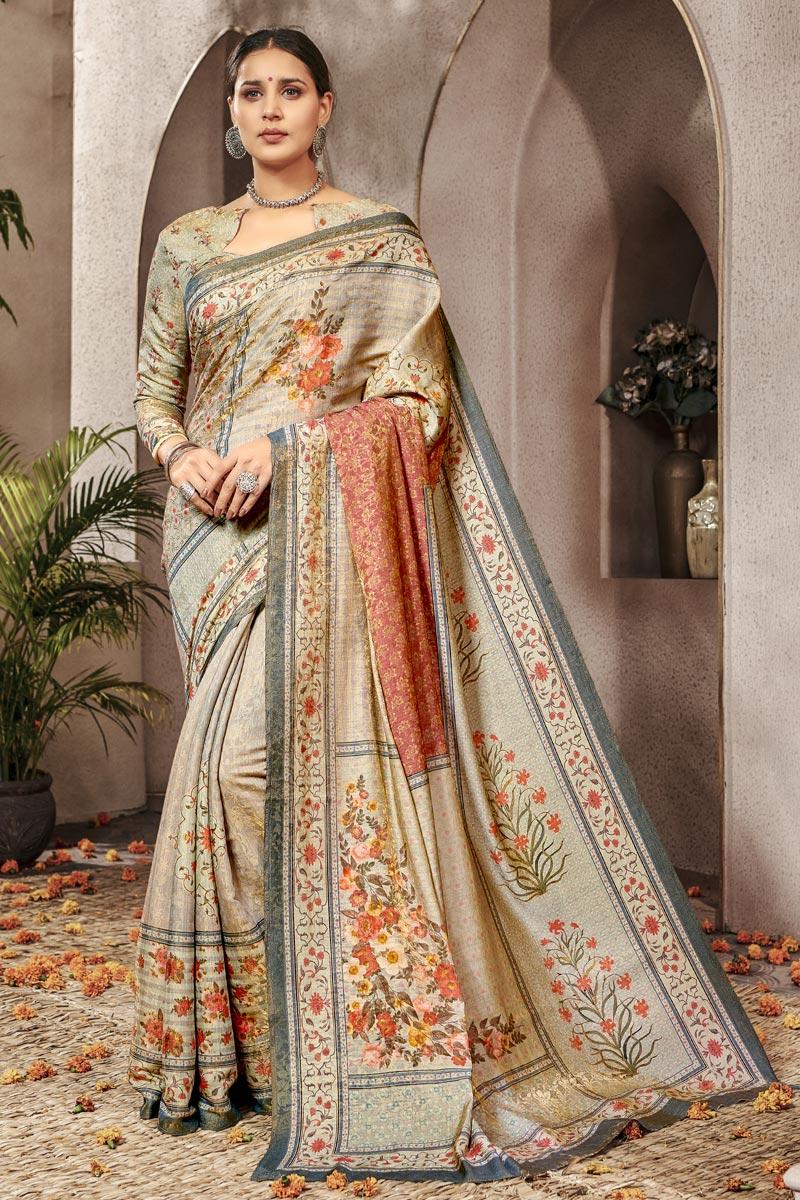 Art Silk Traditional Wear Beige Designer Digital Printed Saree