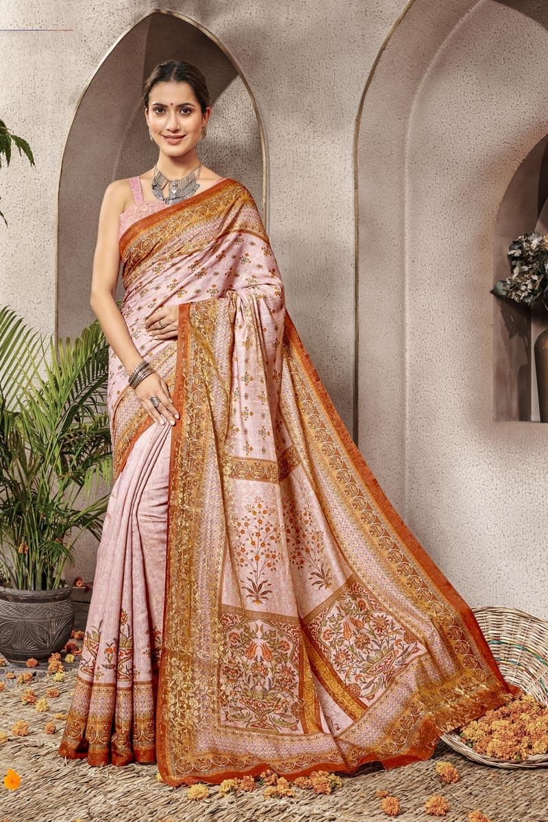 Art Silk Pink Traditional Wear Designer Digital Printed Saree