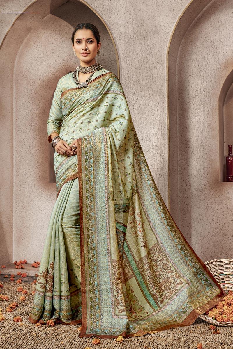 Traditional Wear Sea Green Designer Digital Printed Saree In Art Silk