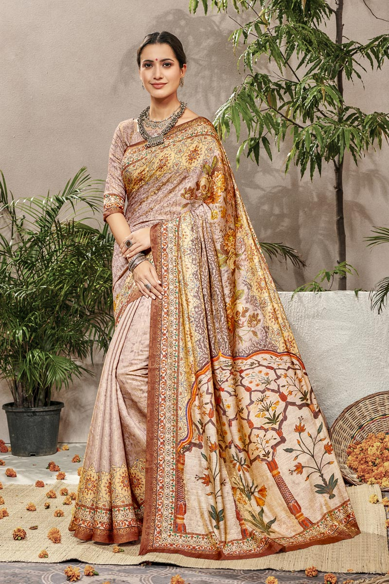 Cream Traditional Wear Designer Digital Printed Art Silk Saree