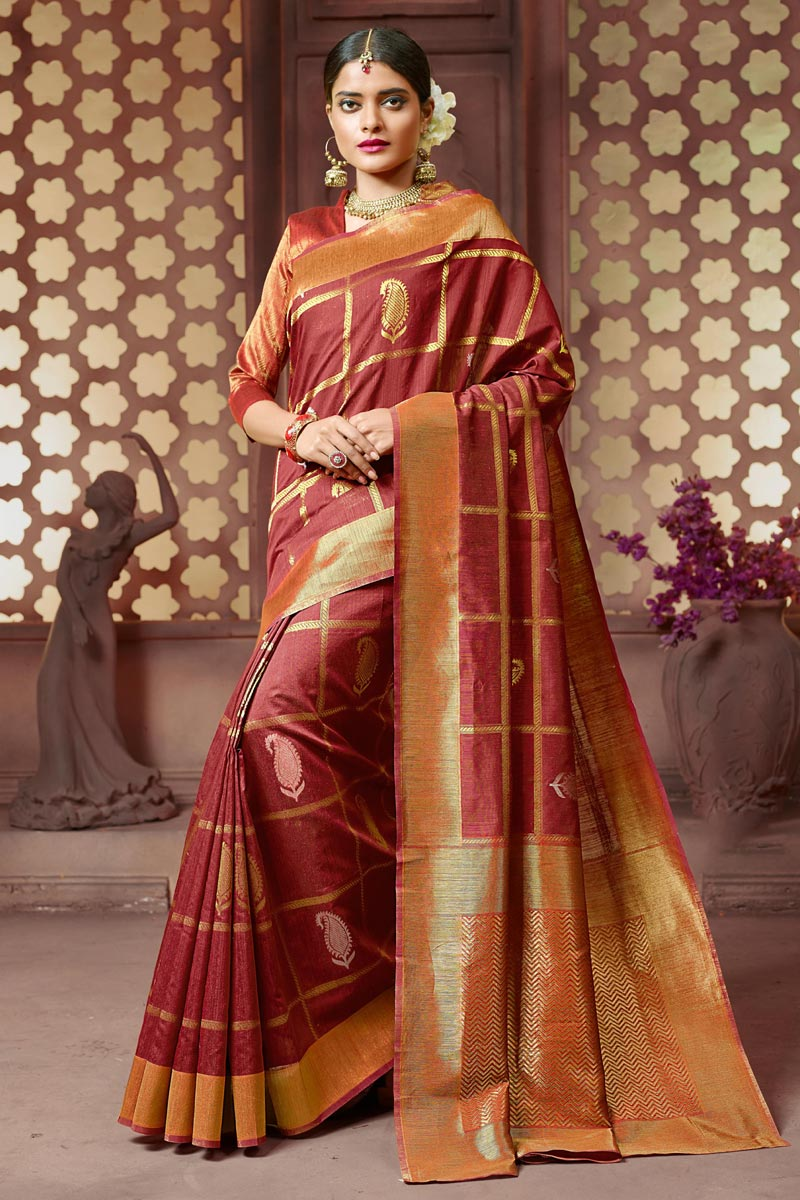 Party Style Art Silk Fabric Weaving Work Maroon Saree