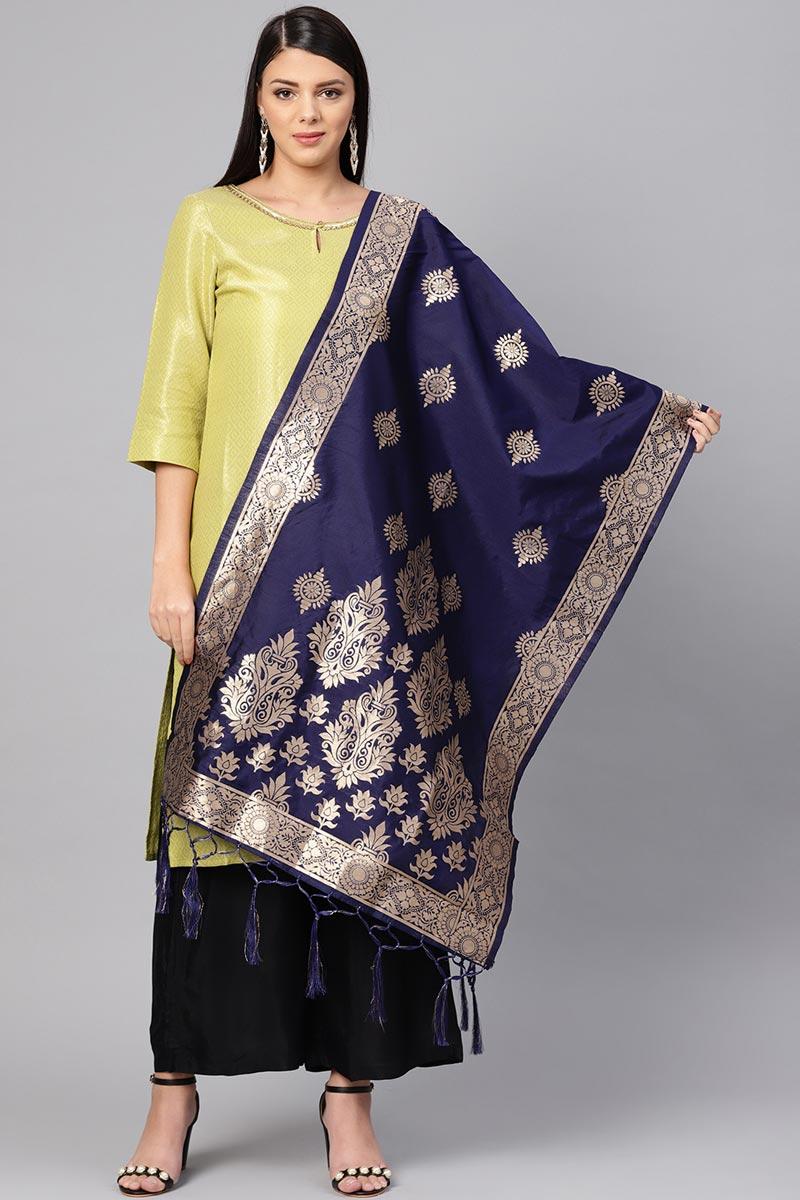 Art Silk Stylish Navy Blue Designer Dupatta With Weaving Work
