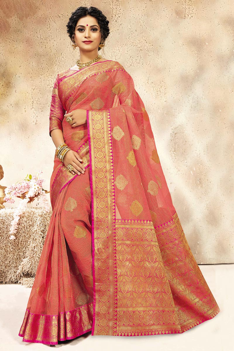 Puja Wear Pink Weaving Work Chanderi Silk Saree