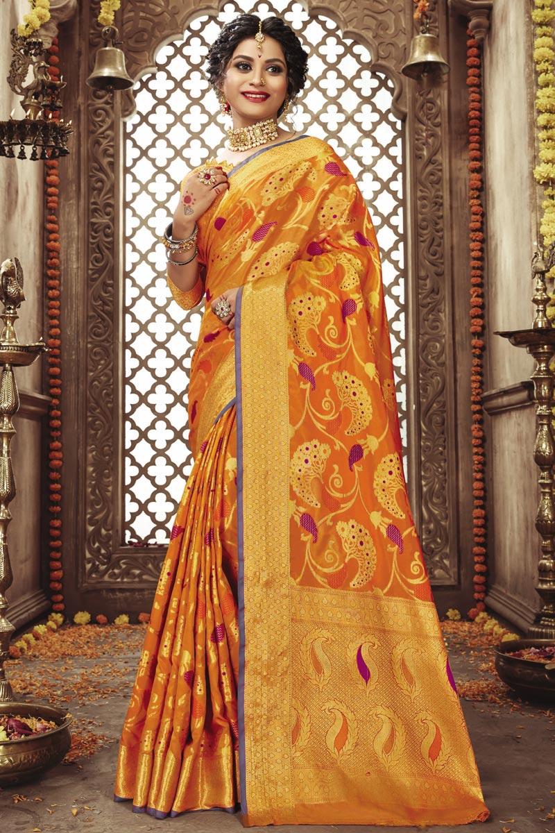 Festive Wear Orange Weaving Work Fancy Art Silk Fabric Saree