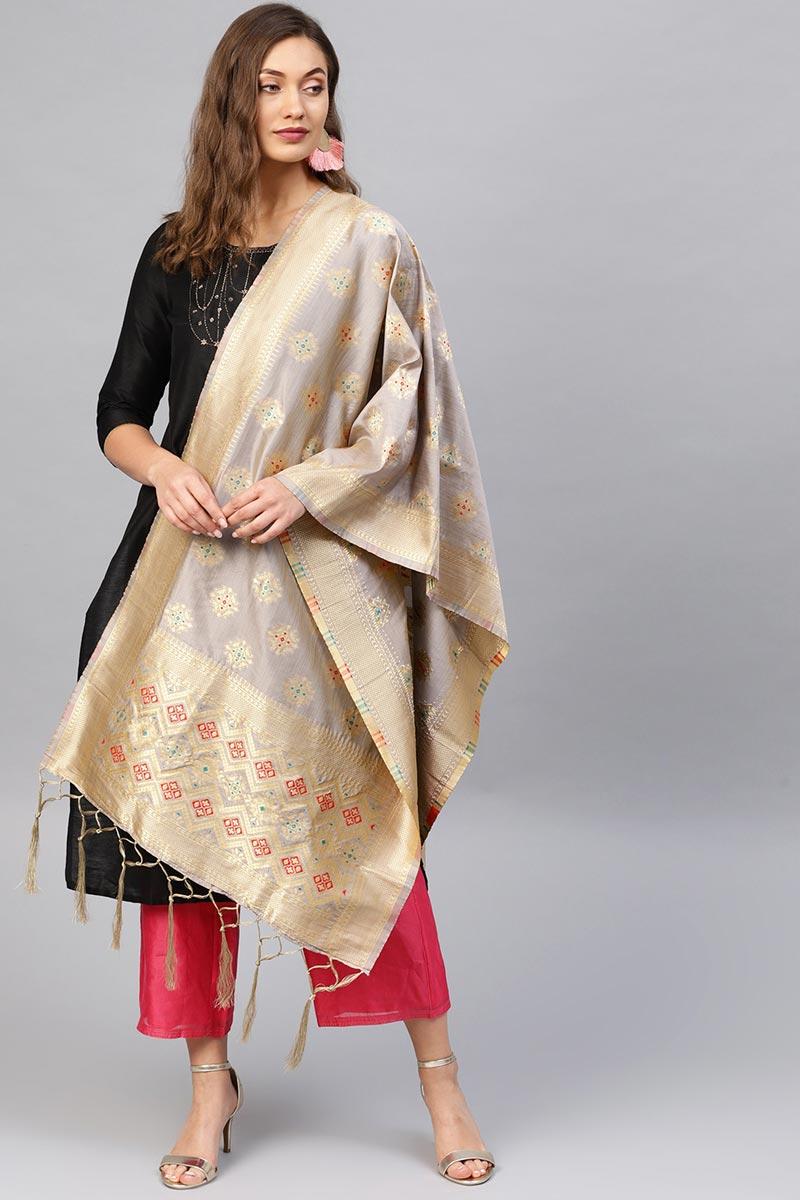 Art Silk Fabric Trendy Grey Designer Dupatta With Weaving Work