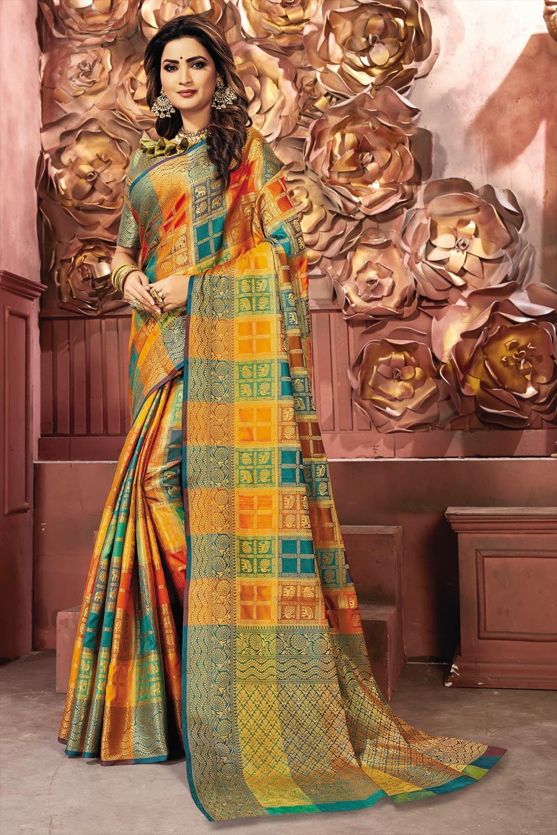 Puja Wear Multi Color Weaving Work Art Silk Fabric Saree