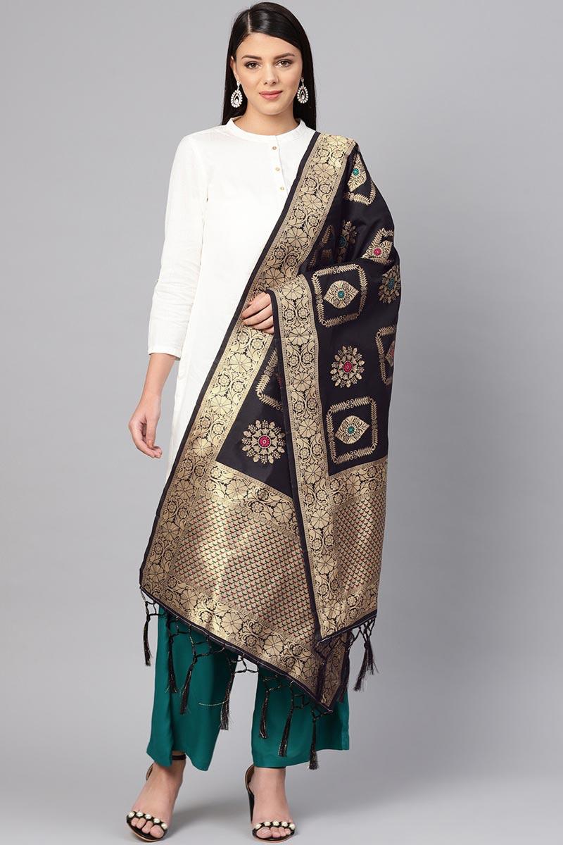 Elegant Art Silk Fancy Weaving Work Dupatta In Black