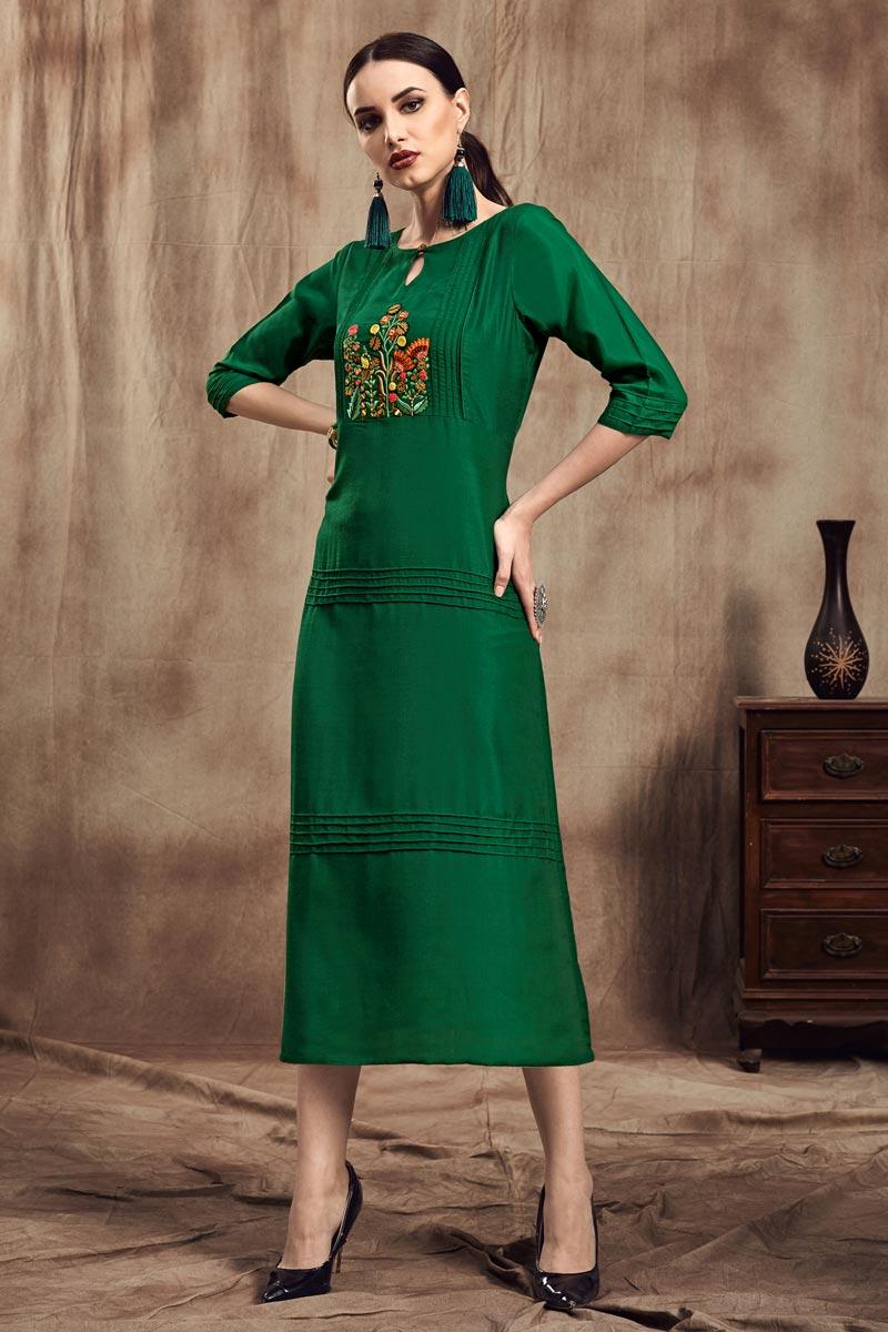 Fancy Fabric Thread Embroidered Green Festive Wear Kurti