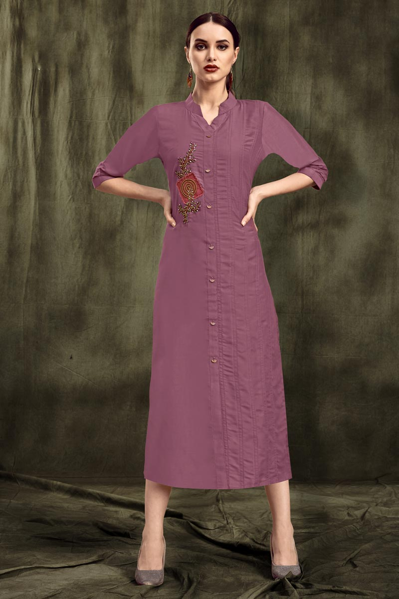 Fancy Fabric Pink Festive Wear Thread Embroidered Kurti
