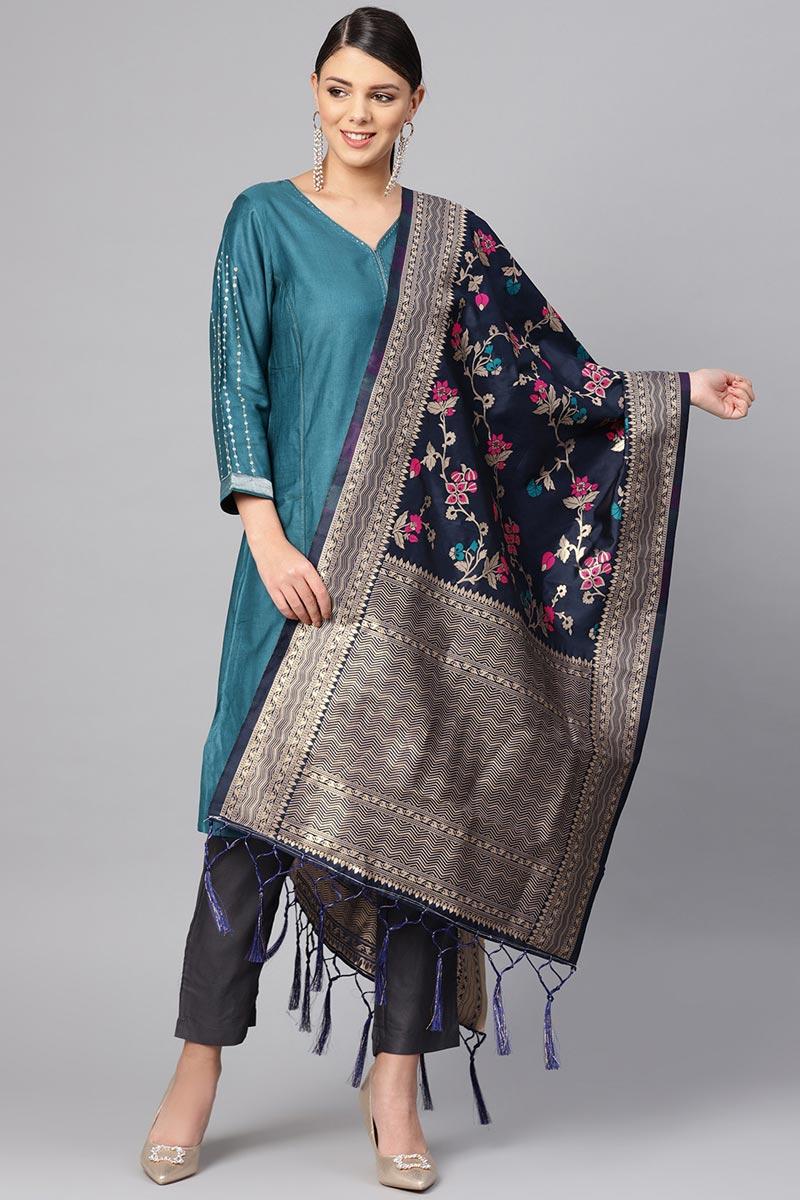 Art Silk Stylish Navy Blue Weaving Work Dupatta