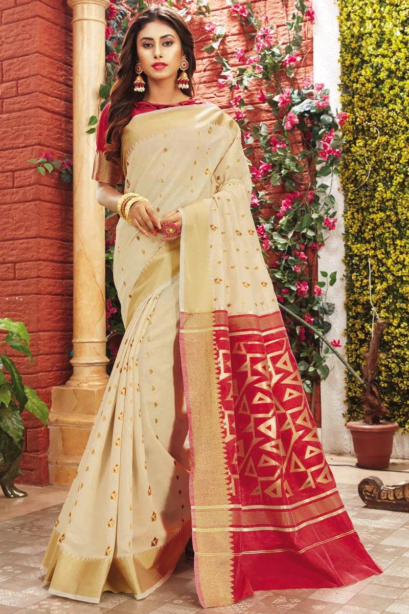 Cotton Silk Fabric Festive Wear Cream Fancy Weaving Work Saree
