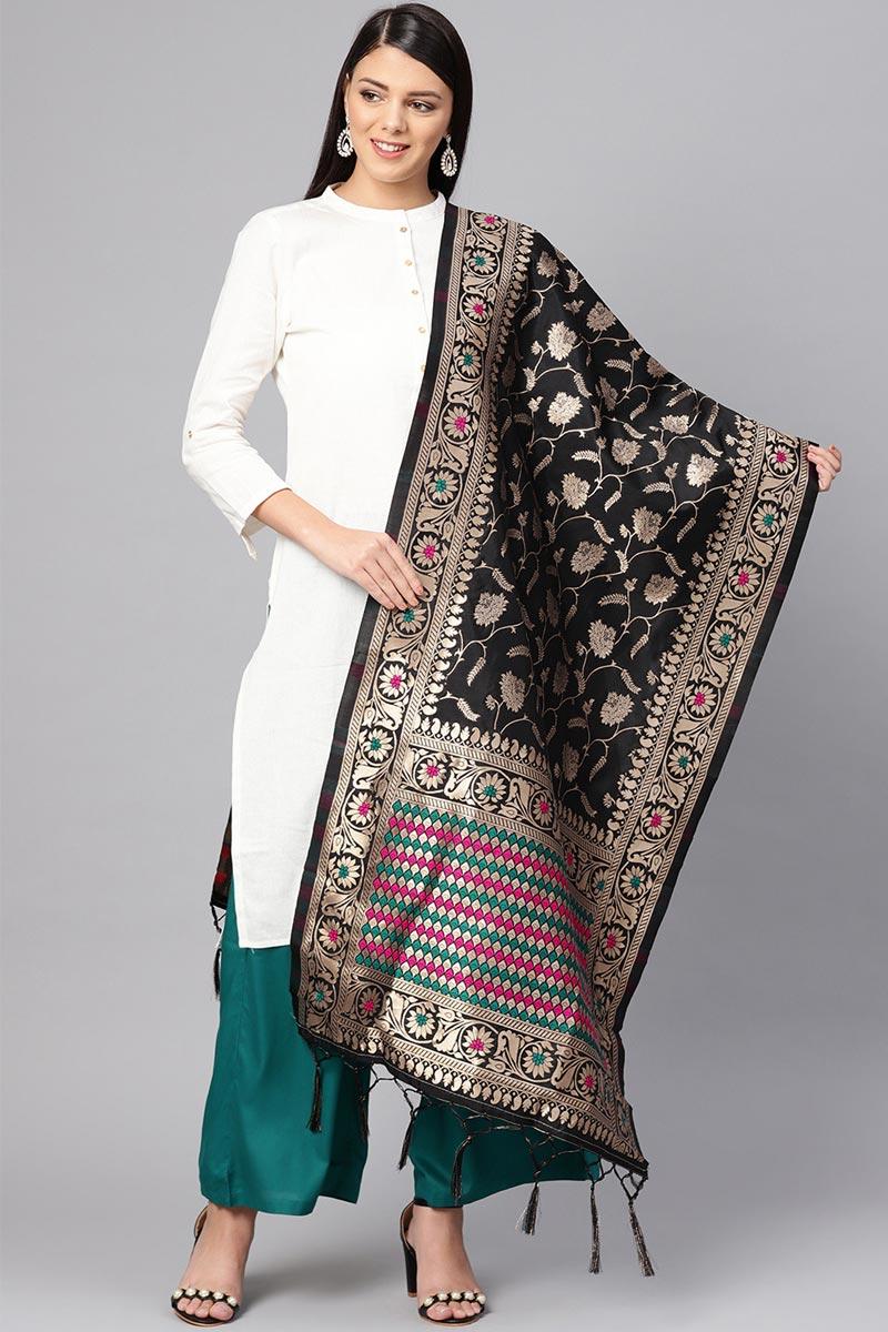 Stylish Art Silk Fabric Weaving Work Dupatta In Black