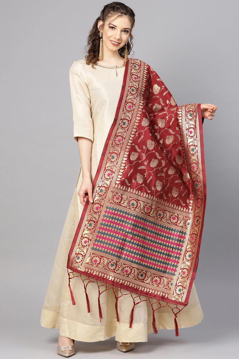 Stylish Maroon Weaving Work Dupatta In Art Silk Fabric