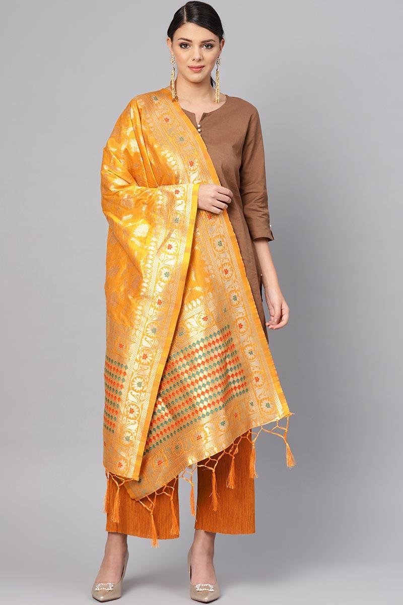 Stylish Weaving Work Dupatta In Mustard Art Silk Fabric