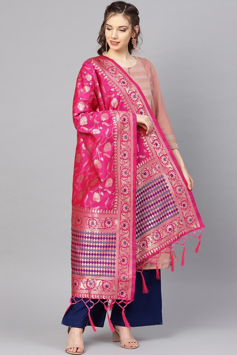 Stylish Weaving Work Rani Color Dupatta In Art Silk Fabric