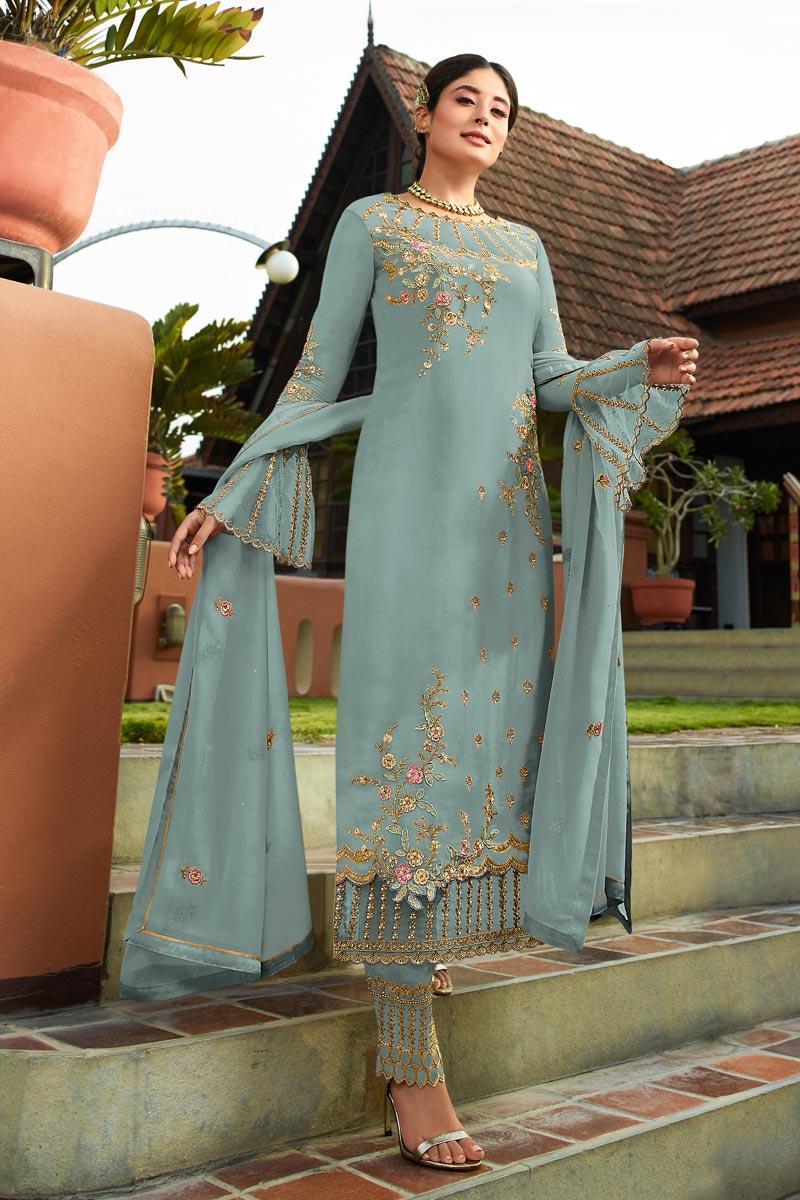 Kritika Kamra Cyan Fancy Embroidered Function Wear Straight Cut Dress In Georgette