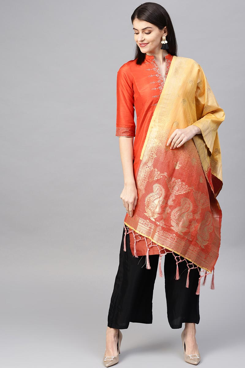 Trendy Yellow Weaving Work Dupatta In Art Silk